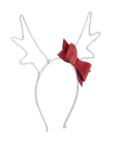 Girl's Reindeer Antlers Headband w/ Crystal Bow