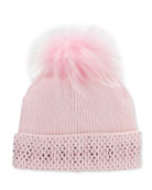 Bari Lynn Girl's Crystal Trim Rib Knit Beanie