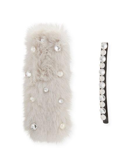 Bari Lynn Girl's Embellished Faux Fur Barrette w/ Matching Bobby Pin
