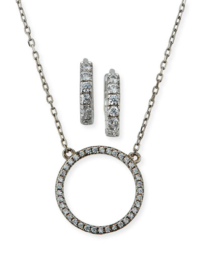 Jewel Tie 925 Sterling Silver Black//White Crystal Circle Chain Slide Pendant 15mm x 15mm