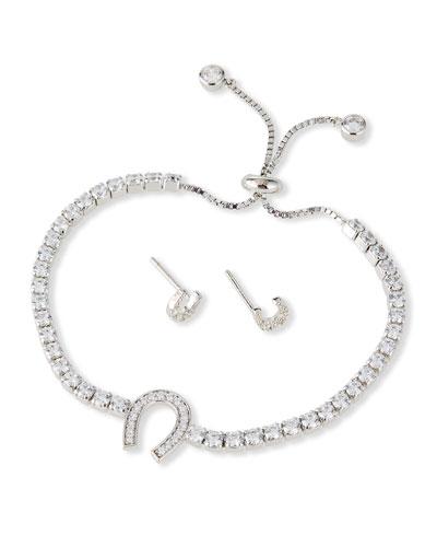 Kid Girl's Horseshoe Sterling Cubic Zirconia Adjustable Bracelet w/ ...