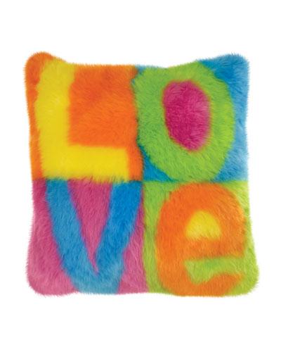 Kid's Love Colorblock Faux Fur Pillow
