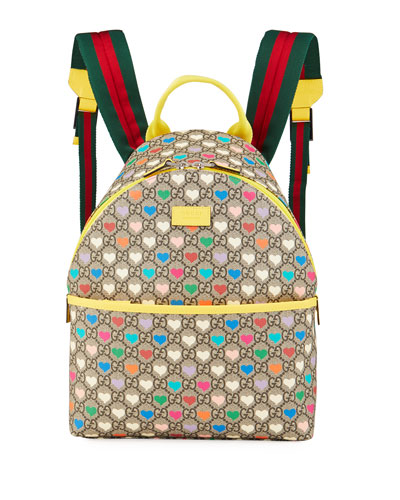 Kid's GG Supreme Hearts Print Backpack