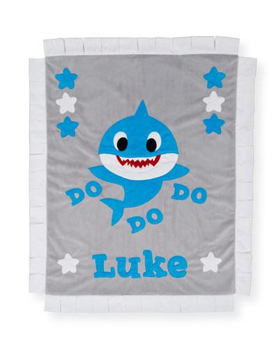 Personalized Baby Shark Plush Lovey Blanket
