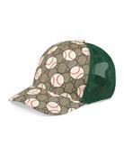 Gucci Kid's GG Supreme & Baseball-Print Trucker Hat