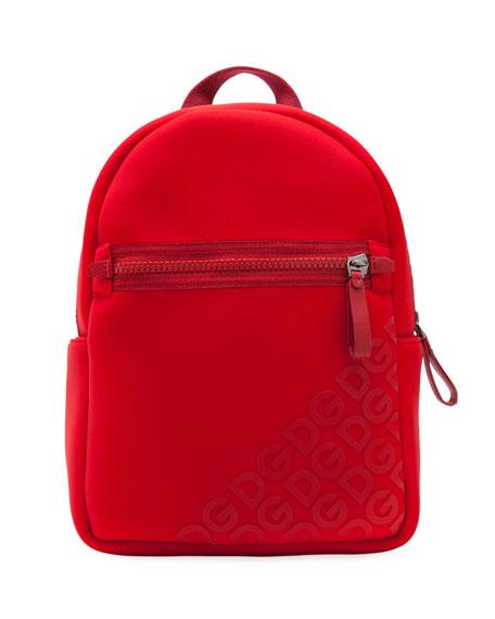 Dolce & Gabbana Kid's Stamped Logo Neoprene Backpack