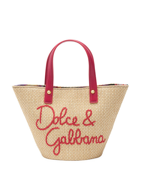 Dolce & Gabbana Kid's Blooming Straw Tote Bag