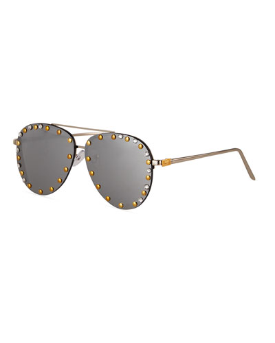 Kid's Rimless Aviator Sunglasses w/ Swarovski Details