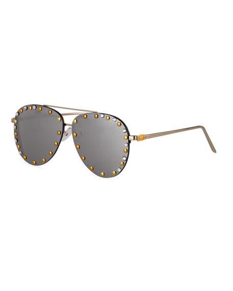 Bari Lynn Kid's Rimless Aviator Sunglasses w/ Swarovski Details