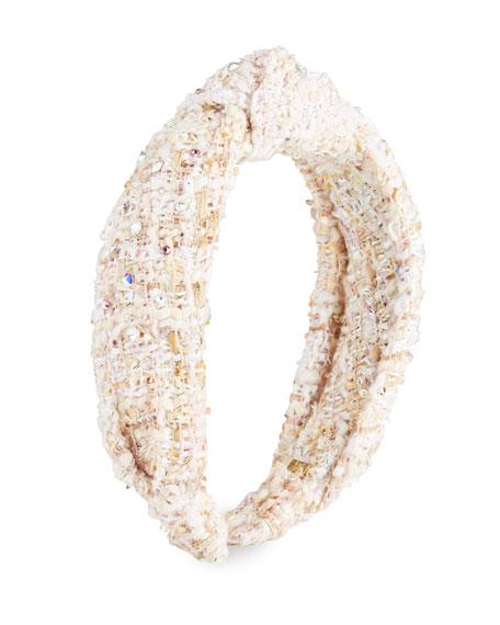 Bari Lynn Girl's Knotted Headband w/ Clear Stones
