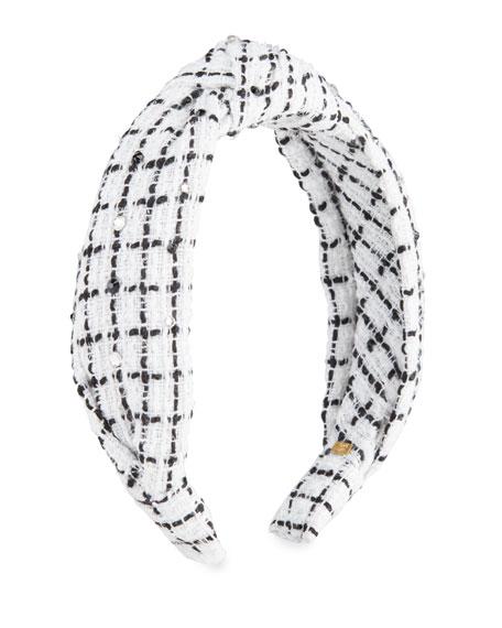 Bari Lynn Girl's Check Tweed Headband