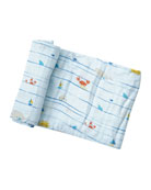 Angel Dear Sea Stripes Muslin Swaddle Blanket