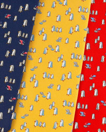 Salvatore Ferragamo Fish & Penguin Tie -  Whimsical -  Neiman Marcus :  whimsical penguin silk tie fish