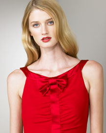Valentino Satin-Bow Dress -  Valentino -  Neiman Marcus :  bow satin dress valentino red dress