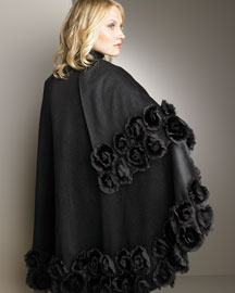 Cassin Mink Rosette Cashmere Cape -  Cold-Weather Shop -  Neiman Marcus :  designer accessories outerwear cape accessories