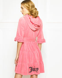Juicy Couture            Tiered Terry Robe, Watermelon -   		Juicy Couture - 	Neiman Marcus :  juicy embroidery tiered wrap front terry