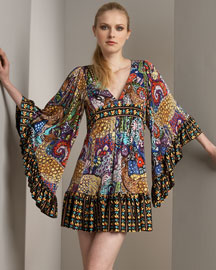 Betsey Johnson Printed Tunic Dress -  Sleeves -  Neiman Marcus
