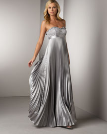 Badgley Mischka Platinum Label Pleated Gown -  Formal Event -  Neiman Marcus from neimanmarcus.com