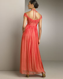 Kay Unger New York Off-Shoulder Chiffon Gown