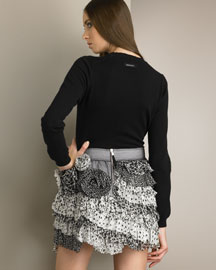 D&G Dolce & Gabbana Cashmere Knit Top & Tiered Silk Skirt -  Looks -  Neiman Marcus