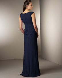 Tadashi Pleated Silk Gown