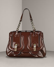 Fendi Medium Buckled Patent Shoulder Bag