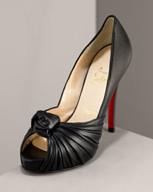 Christian Louboutin Knotted Open-Toe Sandal -  Christian Louboutin -  Neiman Marcus :  pumps black leather peep toe