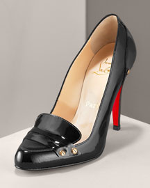 Christian Louboutin Patent Loafer Pump -  Christian Louboutin -  Neiman Marcus :  shoes loafer brown christian louboutin