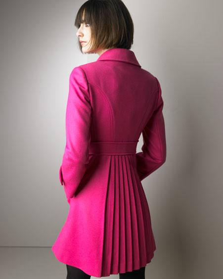 Valentino Red Pleated-Back Coat Neiman Marcus