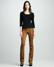 Possey Mustard Faux-Leather Boot-Cut Jeans