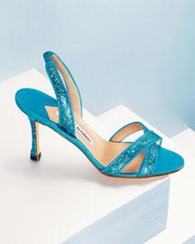 Manolo Blahnik Fieno Sequined Sandal- Shoes- Neiman Marcus
