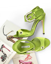 Manolo Blahnik Satin Buckled Sandal