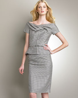 Draped Collar Jacket & Straight Skirt -  Neiman Marcus :  wool off the shoulder draped collar pencil skirt