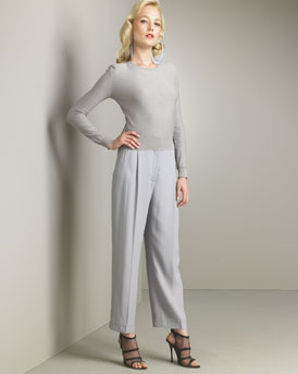 Pointelle-Knit Sweater & High-Waist Cropped Pants -  Neiman Marcus :  high waist pointelle italy ribbed waist