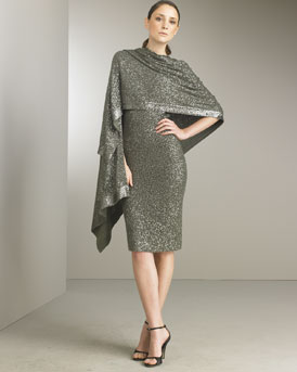 Sequin Camisole Dress & Scarf -  Neiman Marcus :  sequined evening wrap gray