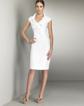Satin Voulant Dress -  Neiman Marcus :  short sleeves white dress ruffled collar white