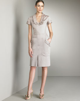 Flower-Neck Dress -  Neiman Marcus :  short sleeves day yves saint laurent ysl