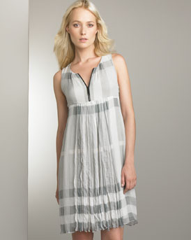 Pleated Shift Dress -  Neiman Marcus :  porsum dress burberry empire waist