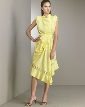 Poplin Drape Dress -  Neiman Marcus :  yellow dress