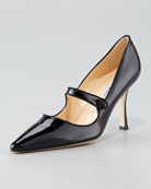 X3593 Patent Leather Mary Jane, Black 515.00