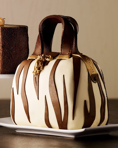 Zebra-Striped Handbag Cake