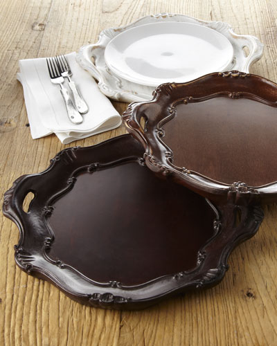 Round Handled Wood Charger Plate