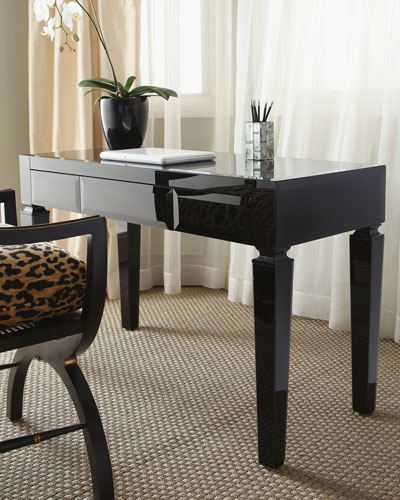 Black Glass Writing Table