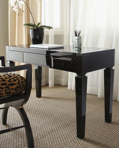 Black Glass Writing Table