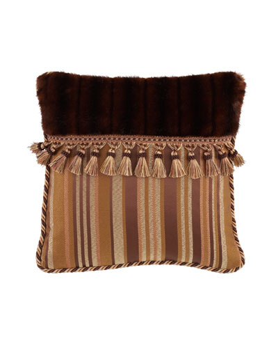 Carlisle Pillow with Faux-Fur & Tassels, 18