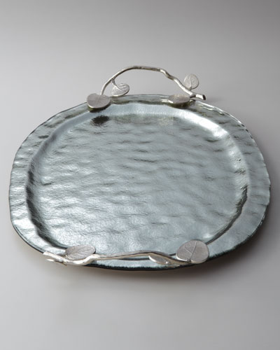 Large Botanical Leaf Glass Platter