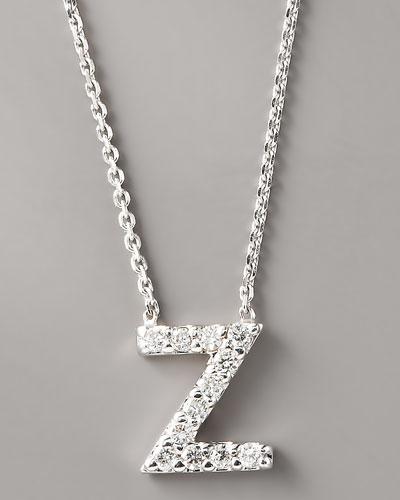 Diamond Letter Necklace, W