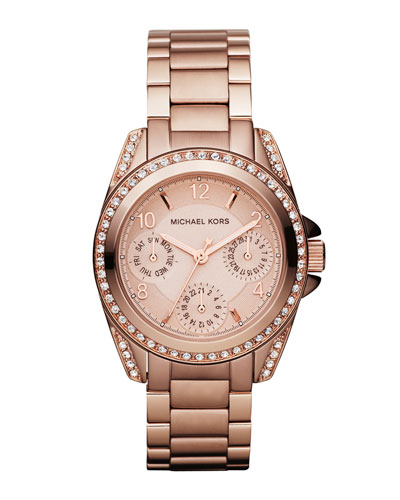 Mini-Size Blair Multi-Function Glitz Watch, Rose Golden