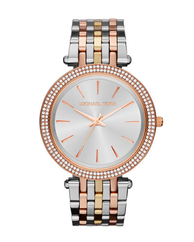 Mid-Size Three-Tone Stainless Steel Darci Glitz Watch