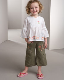 Chipie Embroidered Peasant Top & Cropped Pants